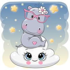 Cute Hippo a on the Cloud