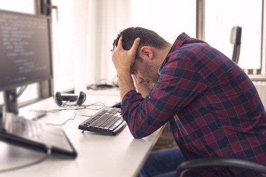 Software developer stressed out