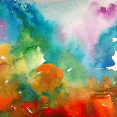 Watercolor abstract bright colorful textural background handmade . Painting of sky and clouds during sunset . Modern seascape . Shine