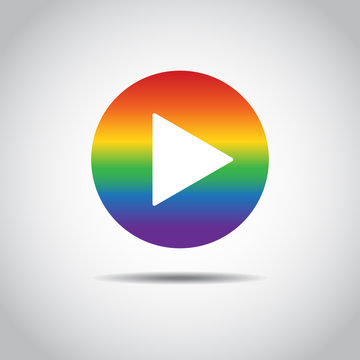 Red button video player. Social media icon in LGBT color. Flat Social Media Background Sign Download. Vector Logo