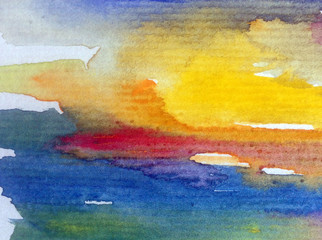Watercolor abstract bright colorful textural background handmade . Painting of sky and clouds during sunset . Modern sky scape . Shine