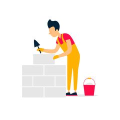 Bricklayer, the worker is laying bricks, building. Flat style vector illustration.