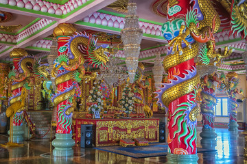 Chinese temple art in Ang Sila, Chonburi, Thailand also known as Wihan Thep Sathit Phra Kitti Chaloem / Chinese temple in Ang Sila, Chonburi, Thailand/Chinese temple in Ang Sila, Chonburi, Thailand