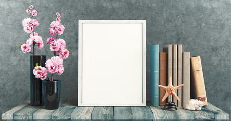 White canvas on table with books and flowers, 3d render illustration