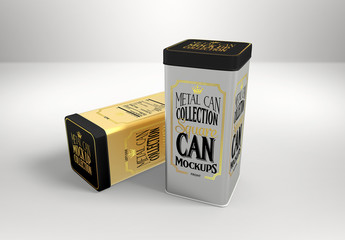 Two Tall Square Tin Cans Mockup