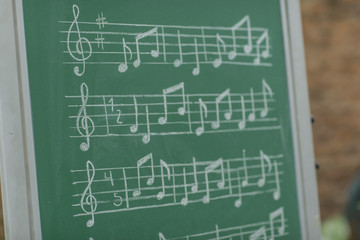 Teacher teaching musical notes on green chalkboard