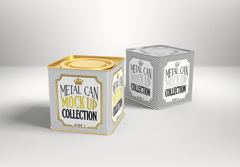 Two Square Tea Cans Mockup