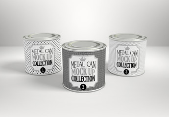Three Round Tea Cans Mockup