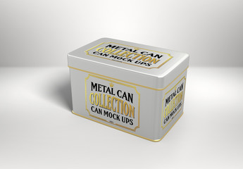 Rectangular Tin Can Mockup