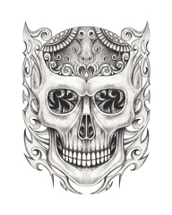 Art Graphic mix Skull Tattoo. Hand pencil drawing on paper.