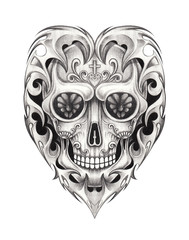 Art Graphic Heart mix Skull Tattoo. Hand pencil drawing on paper.