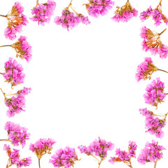 Floral frame made of Limonium or Statice flowers isolated on white background. Top view with copy space. Flat lay.