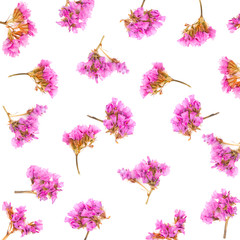 Floral pattern made of Limonium or Statice flowers isolated on white background. Flat lay. Top view.