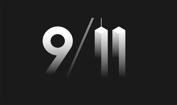 9/11 Patriot Day, September 11 illustration - 9/11 memorial black and white