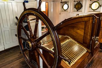 old ship rudder made of wood