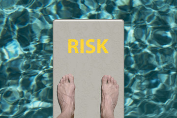 Swimming pool diving board with text Risk
