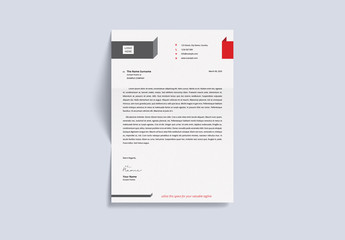 Letterhead Layout with Red and Gray Accents