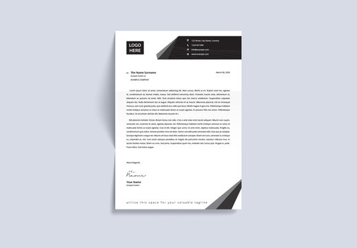 Letterhead Layout with Grayscale Design Elements