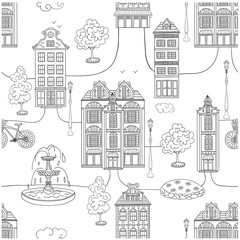Town seamless pattern.