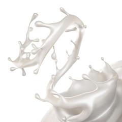 A splash of milk. 3d illustration, 3d rendering.