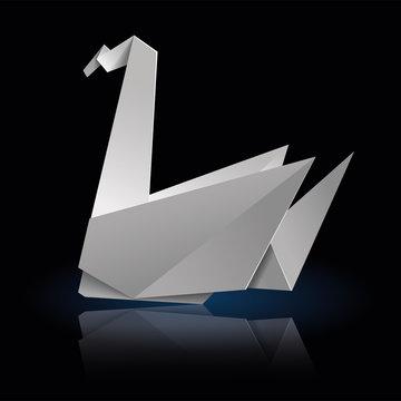 Origami swan side