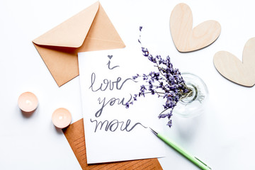 concept of Valentine Day love letter white background top view