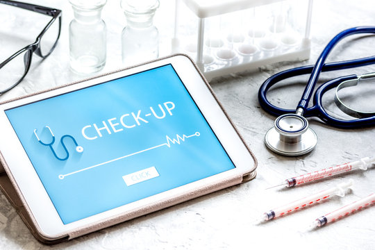 concept time health check up on white background