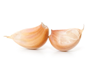 Raw garlic segments.