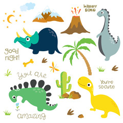 Dinosaur footprint, Volcano, Palm tree, Stones, Bone and Cactus