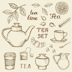 Set of hand drawn tea icons isolated on vintage background. Sketched teapot, cup, milk, dessert etc.  Illustration in retro style