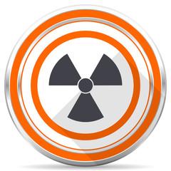 Radiation silver metallic chrome round web icon on white background with shadow
