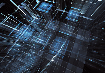 Abstract fractal background, texture. Virtual Neon City