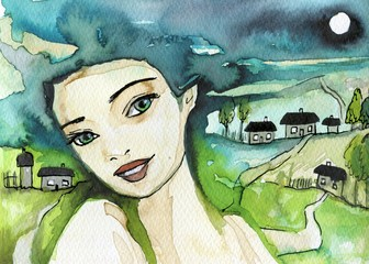 Foto op Aluminium Schilderkunstige Inspiratie Watercolor illustration depicting a fancy woman's portrait.