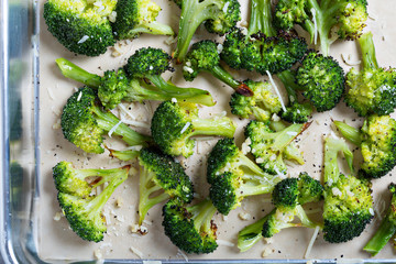 Roasted broccoli on a baking tray