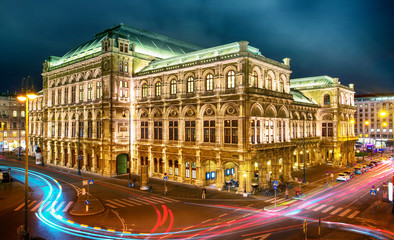 Vienna State Opera at night, Vienna, Austria.