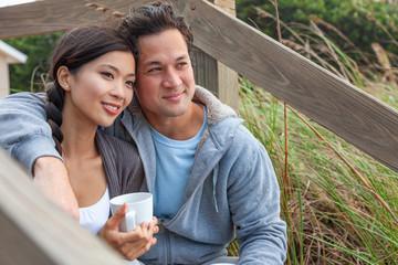 Asian Man Woman Romantic Couple on Beach Steps