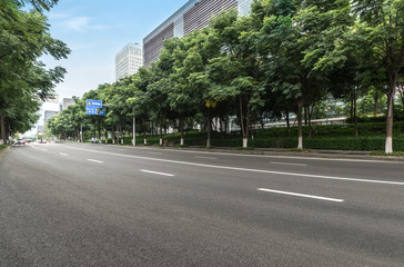 empty highway with cityscape of chengdu,China Wall mural