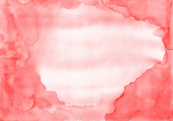 Red unusual frame from stains and stains of watercolor paint on paper. As a template for congratulations, a background for a designer or canvas for text.