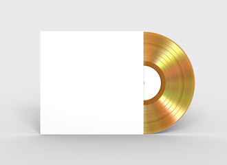 Gold Vinyl Record In White Paper Case
