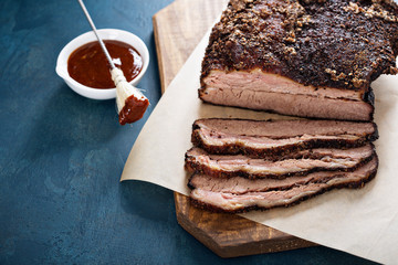 Sliced slowly cooked brisket