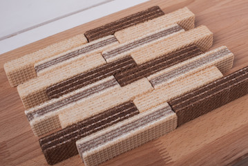 wafers with chocolate and vanilla