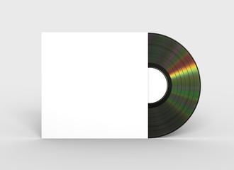 Black Vinyl Record In White Paper Case. 3D Illustration.