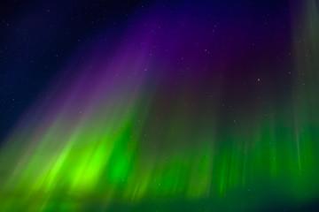 Apatity, Kola Peninsula. Aurora Borealis in April. Horizontal crown