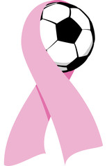 Soccer ball wrapped in a pink Breast Cancer Ribbon.