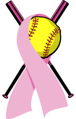 Softball wrapped in a pink Breast Cancer Ribbon with crossed bats behind.