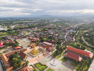Aerial View of city of Kamphangphet  with Wat Phra Borommathat Jadeeyaram in Kamphangphet Thailand