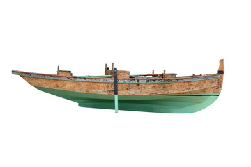 green wooden fishing boat isolated on white background