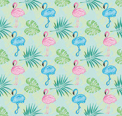 Tropical pattern with tiffany blue background and watercolor painted pink flamingo and leaves