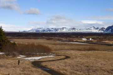 The vast landscape at Thingvellir in Iceland