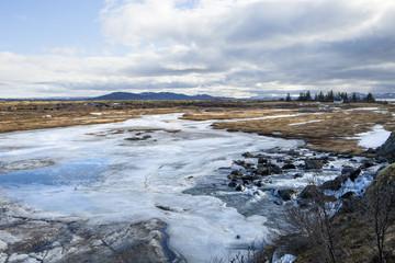 The frozen river at Thingvellir